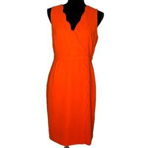J. Crew Scalloped Neckline Faux-wrap dress size 8
